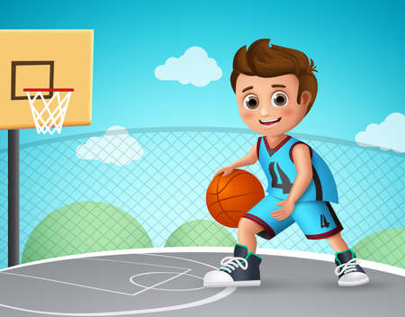 Kid playing basketball vector character. Young school boy wearing basketball uniform in basketball court while doing his dribbling style. Vector illustration.  イラスト・ベクター素材