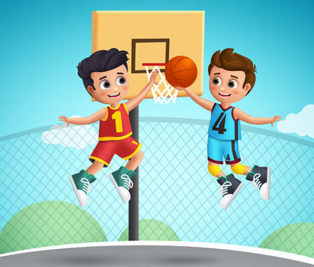 Kids characters playing basketball vector illustration.Young school boys wearing basketball uniform playing  in the court playground. Vector illustration.