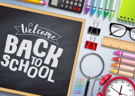 Back to school vector banner. Chalkboard with back to school text and colorful school supplies and elements in white background. Vector illustration.