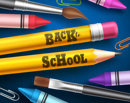 Back to school vector design. Pencils with back to school text and colorful school supplies and elements in blue background. Vector illustration.