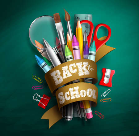 Back to school vector design. Back to school text in ribbon with colorful school supplies and elements in green chalkboard background. Vector illustration. Stock Illustratie