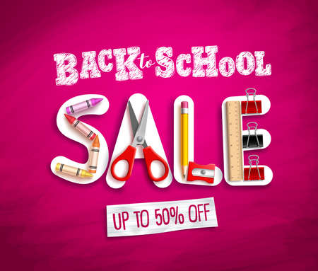 Back to school sale vector banner design with sale discount text and colorful school supplies and elements in pink background. Vector illustration. Ilustração