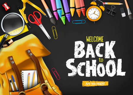 Back to School In Black Background Banner with Orange Backpack and School Supplies Like Notebook, Pen, Pencil, Colors, Ruler, Magnifying Glass, Eraser, Paper Clip, Sharpener, Alarm Clock and Paint Brush 3D Realistic Design. Vector Illustration Ilustrace