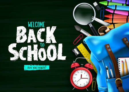 Back to School In Green Chalkboard Background Banner with Blue Backpack and School Supplies Like Notebook, Pen, Pencil, Colors, Ruler, Magnifying Glass, Eraser, Paper Clip, Sharpener, Alarm Clock and Paint Brush 3D Realistic Design. Vector Illustration