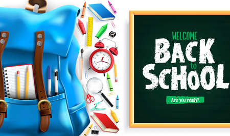 Back to School Greeting Message In White Background Banner with 3D Realistic Design Blue Backpack and School Supplies Like Notebook, Pen, Pencil, Colors, Ruler, Magnifying Glass, Eraser, Paper Clip, Sharpener, Alarm Clock and Paint Brush. Vector Illustration Ilustrace