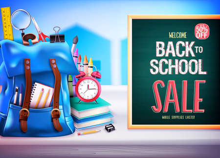 Back to School Sale Up to 50% Off in Green Chalkboard Banner Vector Illustration Design with 3D Realistic Design Blue Backpack and School Supplies Like Notebook, Pen, Pencil, Colors, Ruler, Magnifying Glass, Eraser, Paper Clip, Sharpener, Alarm Clock and Paint Brush. For Promotional Purposes Ilustrace