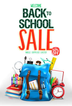 Welcome Back to School Sale Up to 50% Off in White Background Poster Vector Illustration Design with 3D Realistic Design Blue Backpack and School Supplies Like Notebook, Pen, Pencil, Colors, Ruler, Magnifying Glass, Eraser, Paper Clip, Sharpener, Alarm Clock and Paint Brush. For Promotional Purposes Ilustrace