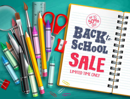 Back to school sale vector banner design with school supplies, education elements and back to school discount text in white paper. Vector illustration. Banco de Imagens - 124730714