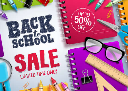 Back to school sale vector banner. Back to school and discount text in white space with colorful school supplies for educational promotion. Vector illustration. Banco de Imagens - 124730715