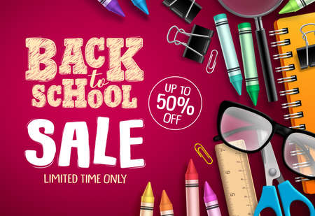 Back to school sale banner vector design in red background with school supplies and education elements for store discount promotion. Vector illustration