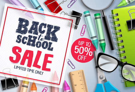 Back to school sale vector banner design. School items and educational elements with sale discount text in white frame. Vector illustration. Banco de Imagens - 124730717