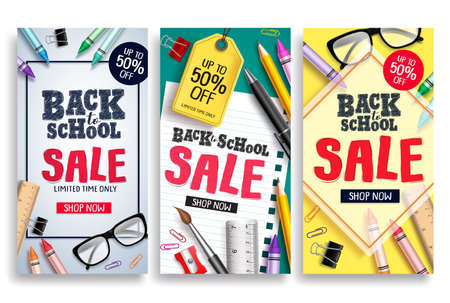 Back to school sale vector poster web template. Sale discount text and school items in colorful background for back to school promotions. Vector illustration.