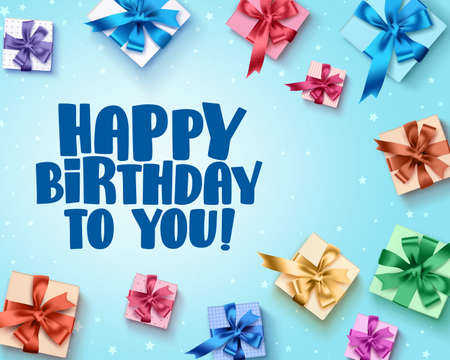Happy birthday greeting card design with colorful birthday gifts elements and happy birthday text in blue background. Vector illustration