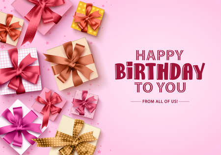 Happy birthday gift boxes background. Birthday greeting card with colorful boxes of gifts and ribbons for party and celebration in pink background. Vector illustration. Ilustracja