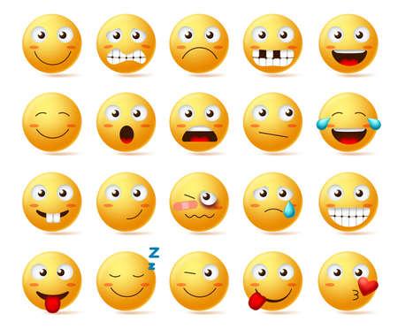 Buźki wektor zestaw. Buźka lub żółte emotikony z różnymi wyrazami twarzy i emocjami, takimi jak szczęśliwi, samotni, zdezorientowani i zranieni na białym tle. Ilustracja wektorowa. Ilustracje wektorowe
