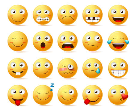 Smileys vector set. Smiley face or yellow emoticons with various facial expressions and emotions like happy, lonely, confused and hurt isolated in white background. Vector illustration.