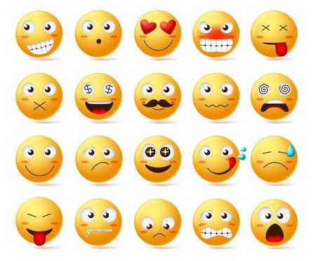 Conjunto de iconos de vector de emoticonos. Carita sonriente o emoticonos amarillos con expresiones faciales y emociones como feliz, enamorado, confundido y mareado aislado en fondo blanco. Ilustración vectorial.