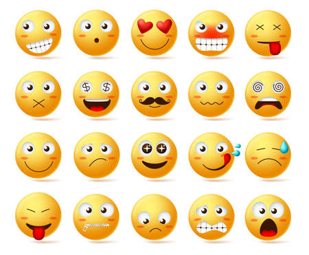 Jeu d'icônes vectorielles smileys. Visage souriant ou émoticônes jaunes avec des expressions faciales et des émotions comme heureux, amoureux, confus et étourdi isolés sur fond blanc. Illustration vectorielle.