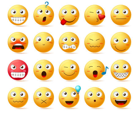 Emoji vector icon set. Smiley face or yellow emoticons with various facial expression like angry face, smiling teeth and confused isolated in white background. Vector illustration. Ilustracja