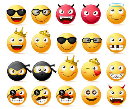 Emoticon vector set. Smiley face and yellow emoji of king and queen wearing crown, ninja and bearded pirate with bad devil smiley face in red isolated in white background. Vector illustration.