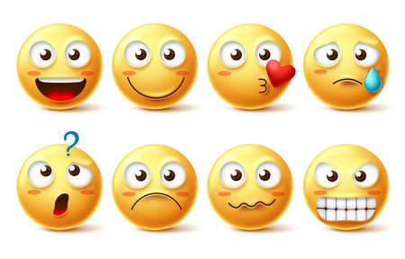 Smiley face vector character set. Smiley emoticons and emoji with different facial expression and emotion like happy, lonely, confused and angry isolated in white background . Vector illustration.