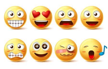 Smiley face vector set. Smileys icons and emoticons with funny, happy, inlove, singing and hurt facial expressions in yellow color isolated in white background. Vector illustration.