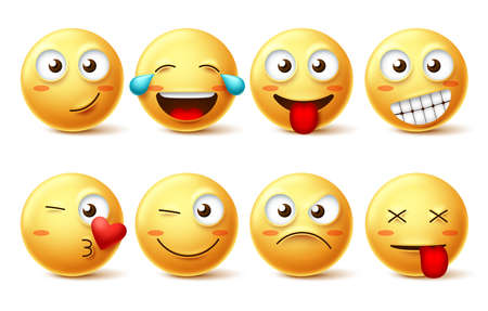 Smiley face vector set. Smileys yellow emoji with happy, funny, kissing, laughing and tired facial expressions isolated in white background for design elements. Vector illustration. Ilustracja