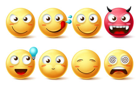 Smileys icon vector set. Smiley faces and emoticons happy, hungry, naughty, thinking, dizzy and evil facial expressions isolated in white background. Vector illustration.