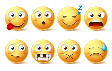 Smileys vector set with funny facial expressions. Smiley face cute emoticons with sleepy, toothless, angry and naughty facial expressions isolated in white background for design elements. Vector illustration. Ilustracja