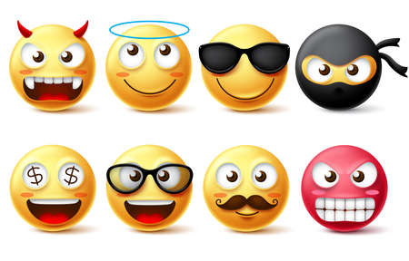Smileys and emoticons vector character set. Smiley face yellow emoji like demon, angel, ninja, bearded face and wearing sunglasses isolated in white background. Vector illustration.