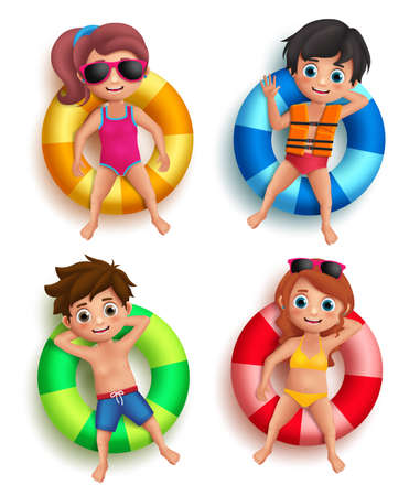 Boys and girls kids vector characters floating with colorful lifebuoy with happy and relax poses wearing beach and swimming attires isolated in white. Vector illustration. Vectores