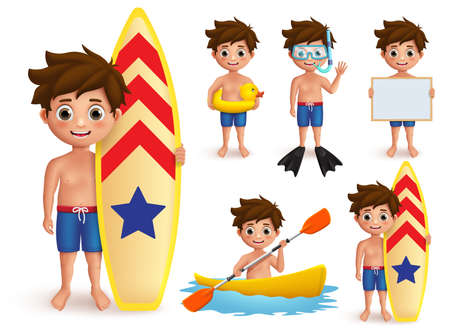 Summer boy kids vector character set. Beach boy with summer day outdoor activities like surfing, snorkeling and boating isolated in white. Vector illustration.