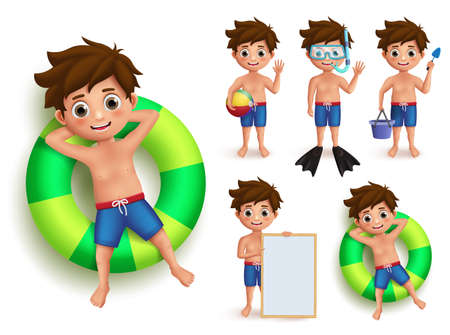 Summer boy kid vector character set. Young kids doing summer outdoor activities like swimming, floating in buoy and playing isolated in white. Vector illustration.