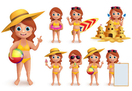 Girl summer kids vector character set. Young girl wearing bikini doing summer beach activities like swimming, eating icecream and playing sand castle isolated in white. Vector illustration. Ilustracja