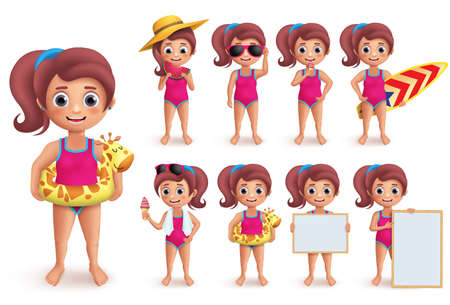 Beach girl vector character set. Summer girl doing outdoor beach activities like swimming, playing, surfing and eating watermelon isolated in white. Vector illustration.
