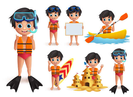 Summer boy kid vector character set. Beach boy wearing lifevest and snorkeling doing  beach activities like swimming, boating, and playing sand castle isolated in white. Vector illustration. Ilustracja