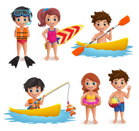 Summer kids vector characters set. Young boys and girls wearing swimming attire doing beach activities like snorkeling, surfing, boating and fishing isolated in white. Vector illustration. Vectores