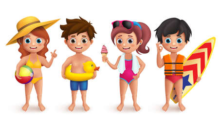 Summer kids vector characters set with boys and girls wearing swimming bikini holding beach ball, lifebuoy, icecream and surfboard isolated in white. Vector illustration.