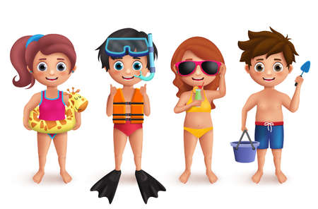 Summer kids vector characters set. Boys and girls playing in beach doing outdoor activities like snorkeling, swimming, playing sand and eating isolated in white. Vector illustration. Vectores