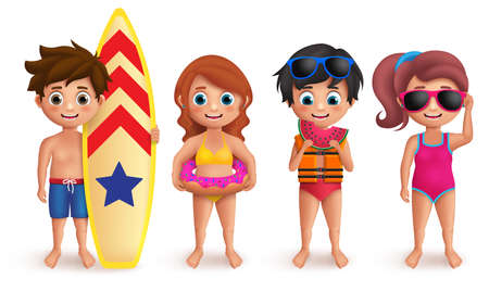 Summer kids vector characters set with boys and girls playing outdoor and holding beach elements like surfboard, lifebuoy, watermelon and sunglasses isolated in white. Vector illustration.