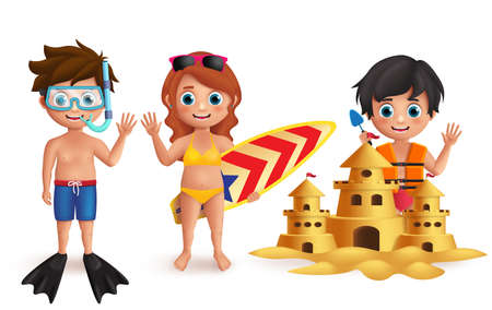 Beach kids vector characters set. Young boys and girl playing sand castle and doing beach activities like snorkeling and surfing isolated in white. Vector illustration. Ilustracja