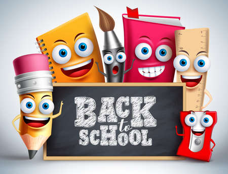 Back to school education items vector characters. School mascots like pencil, pain brush, notebook and ruler happy teaching the kids with blackboard. Vector illustration.