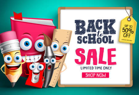 Back to school sale with school vector characters. Education items mascots happy showing whiteboard with sale promotion text. Vector illustration.