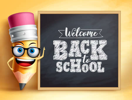 Back to school text with pencil vector character. Pencil mascot wearing teachers glasses talking in students with chalkboard. Vector illustration. Ilustracja