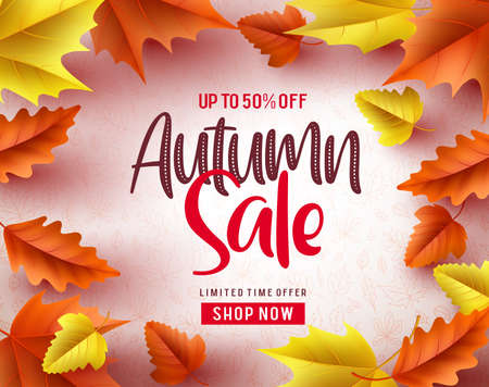 Autumn sale vector banner background. Autumn sale text and maple leaves in white background for fall season discount promotion. Vector illustration. Ilustracja