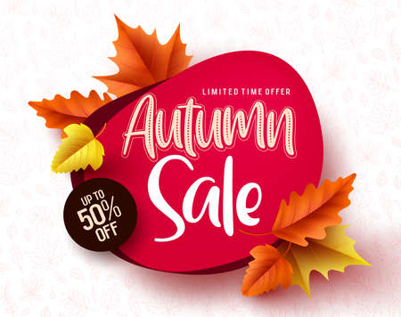 Autumn sale vector banner. Autumn sale and discount text in red space with maple leaves in white textured background for fall season marketing promotion. Vector illustration.