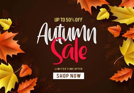 Autumn sale vector background. Fall season banner design with autumn sale and discount text and colorful maple and oak leaves in brown pattern background. Vector illustration. Ilustracja