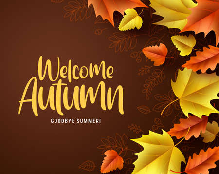 Welcome autumn vector background. Autumn season maple and oak leaves with greeting text in empty space background. Vector illustration.