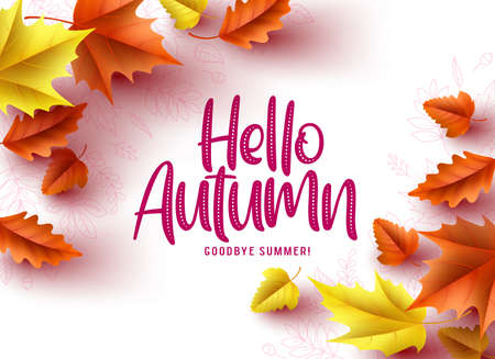 Hello autumn vector greeting background design. Autumn seasonal greeting text, dry oak and maple leaves in a white pattern background. Vector illustration.