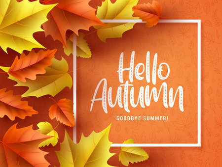 Hello autumn vector background  banner. Hello autumn greeting text in white frame with fall seasonal dry maple and oak leaves in orange pattern background. Vector illustration. Ilustracja